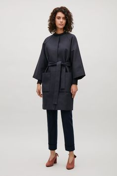COS | Collarless coat with belt