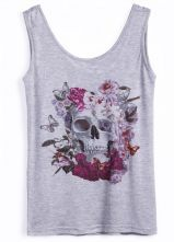 #Sheinside Grey Sleeveless Skull Butterfly Print Vest