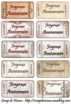 étiquette anniversaire Birthday Sentiments, Card Sentiments, Printable Labels, Printables, Free Printable, Print And Cut Silhouette, Etiquette Vintage, Decoupage, Mini Albums Scrap