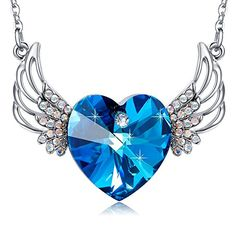 Angel Wings Blue Heart Pendant Necklace with Swarovski Crystals  Fashion Women's Jewelry.More info for pretty necklaces for women;cute small necklaces;cool necklaces for women;popular charm necklaces;pretty necklaces for women could be found at the image url.(This is an Amazon affiliate link and I receive a commission for the sales)