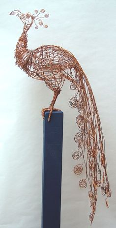 Copper Peacock Made from copper wire wooden fence post; by artist Barbar - Sculpture - Print the sulpture yourself - Copper Peacock Made from copper wire wooden fence post; by artist Barbara Franc Chicken Wire Art, Chicken Wire Sculpture, Wire Art Sculpture, Wire Sculptures, Abstract Sculpture, Bronze Sculpture, Sculpture Ideas, Tree Sculpture, Sculptures Sur Fil