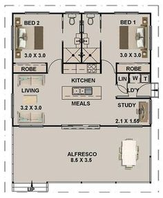 Small 5 Bedroom House Plans Inspirational 2 Bed Study Granny Flat House Plan 965 Ft Do Bathroom – modern courtyard house plans 2 Bedroom House Plans, Cottage House Plans, Small Cottage Plans, Two Bedroom Tiny House, Guest House Plans, Small Cottage House, Guest Cottage Plans, Tiny Cabin Plans, 2 Bedroom House Design