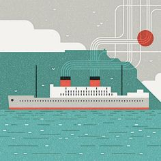 Union-Castle Line: a tribute to the old cruise liners that visited Cape Town, traveling between Europe and Africa #vector #illustration #MUTI #vintage #retro #CapeTown #ships #nautical #texture