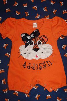 Infant Girls Auburn Appliqued Romper by Lolligrams on Etsy, $24.00