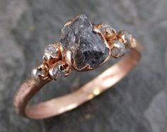 Raw Green Sapphire Diamond Rose Gold Engagement Ring Wedding Ring Custom One Of a Kind Gemstone Ring Three stone Ring byAngeline 0248 Cute Rings, Pretty Rings, Unique Rings, Beautiful Rings, Crystal Engagement Rings, Dream Engagement Rings, Accesorios Casual, Fantasy Jewelry, Rough Diamond