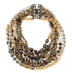 Miriam Haskell / Crystal & Filigree Torsade Necklace / strands of Swarovski crystals and pearls, gunmetal plated brass beads, semi-precious stone pyrite, and woven chain. Longest strand is 20 inches/ 550