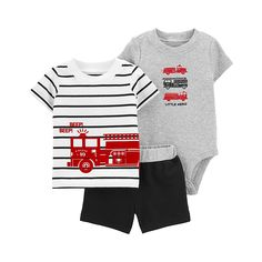Toddler Outfits, Boy Outfits, Toddler Fashion, Kids Clothes Boys, Carters Baby Boys, T Shirt And Shorts, Black Shorts, Shirts, Tees