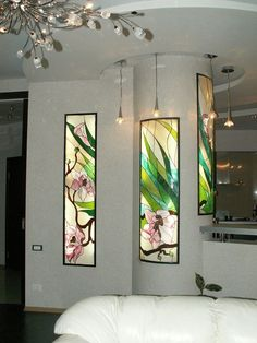 Stained glass as partition in niche (Lit from behind? Stained Glass Flowers, Stained Glass Designs, Stained Glass Panels, Stained Glass Projects, Stained Glass Patterns, Leaded Glass, Beveled Glass, Stained Glass Art, Mosaic Wall