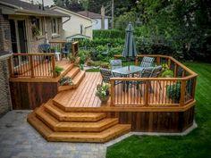 Backyard Patio Designs - Comfy Backyard Patio Deck Designs Ideas for Relaxing Small Backyard Decks, Backyard Pergola, Backyard Landscaping, Pergola Kits, Pergola Ideas, Patio Ideas, Bbq Gazebo, Landscaping Around Deck, 16 X 16 Deck Ideas