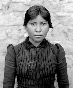 Stunning fifteen year old Papago woman/girl, Josepha Rios, Born 1879. Photo: 1894. Josepha's home was at San Xavier Reservation, in Arizona. ~ Repinned via Ruth Schee