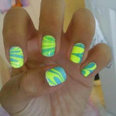 Neon green and blue