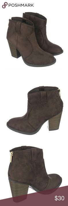 Adorable Brown Heeled Booties Arriving next week! Stylish Brown Heeled Booties perfect for any occasion!! Would go great with dresses, skirts or leggings! TRUE TO SIZE. Only 2 available. 8.5 & 9!  Heel height: 3.27544in Synthetic suede Zip up closure at heel Round toe Shoes Heeled Boots