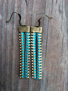 Emerald Zipper Earrings - Bronze.