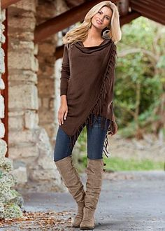 Pinned fringe brown cardigan by VENUS available in sizes XS - XL