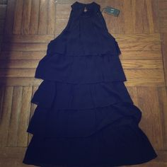 AX dress NEW WITH TAGS✅ Armani Exchange dress. Black Ruffled high neck two button closure in the back. Armani Exchange Dresses