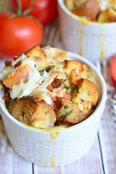 Savory Tomato Basil Bread Pudding recipe