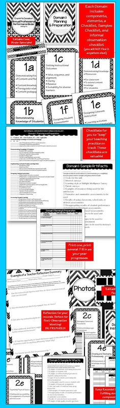 Charlotte Danielson Editable Binder Organizer: Black and White Theme. 50 Pages. Be Organized. Be Proactive. Be Ready.