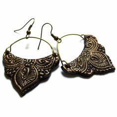 Mughal earrings, tribal jewelry mehndi inspired, bronze black Christmas sale CHRISTMAS12. $18.00, via Etsy.