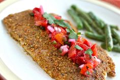 pistachio-crusted tilapia (or salmon) with blood orange salsa...turned out SO good!