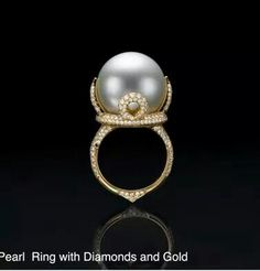 Inbar pearl diamonds and gold Pearl Ring, Pearl Jewelry, Vintage Jewelry, Fine Jewelry, Unique Jewelry, Love Ring, Emeralds, Cultured Pearls, Beautiful Rings