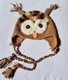 Brown Knit Owl Hat for Kids - Made to Order by Keep'em in Stitches