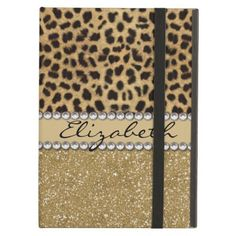 Leopard Spot Gold Glitter Rhinestone PHOTO PRINT iPad Air Case This design is made with brown leopard spots and a gold glitter that sparkles on the bottom. The center is left for personalization / personalize surrounded with white diamond rhinestones. (Photo Printed) #glitter #leopard #pattern #brown #color #wild #cat #pattern #trend #rhinestone #diamonds #bling #monogram #personalize #glamour #irony #designs #fashion...