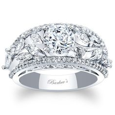 Barkev's 14K White Gold Floral Vintage Wide Diamond Engagement Ring