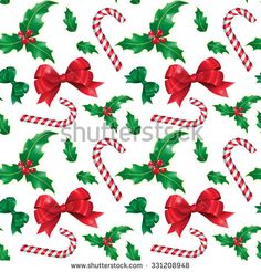 Vector illustration. Seamless pattern. Attributes of Christmas for your design: holly, bow-knot, candy cane.