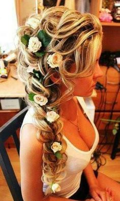 "Flowers in hair. Real life ""tangled"" hair would be beautiful bridal hair! Wedding Hair Flowers, Flowers In Hair, Hair Wedding, Tangled Wedding, Floral Wedding, Woodsy Wedding, Elegant Wedding, Wedding Braids, Wedding Gowns"