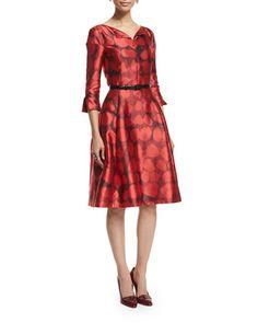 3/4-Sleeve+Fit-&-Flare+Day+Dress,+Ruby+by+Oscar+de+la+Renta+at+Bergdorf+Goodman.