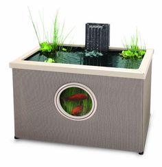 das miniteich innere und die fische k nnen bei diesem beh lter aus rattan beobachtet werden. Black Bedroom Furniture Sets. Home Design Ideas