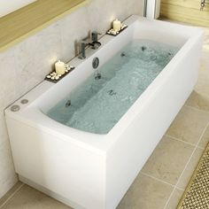 Ceramica 1800mm Double Ended Square Bath with 10 Jet Whirlpool