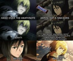 Oh, my goodess! Death Note and Attack on Titan crossover.