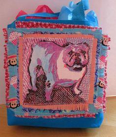 ENGLISH BULLDOG Tote Bag small Hand Printed OOAK, Sock Monkey, Cupcake Bright Blue Tote, VioletTurquoise, Black Bulldog
