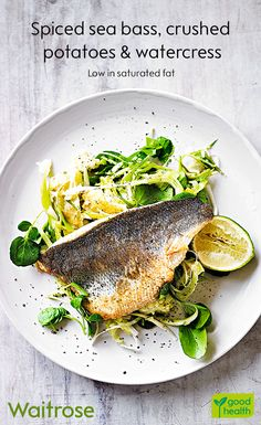Our spiced sea bass on a bed of crushed potatoes and watercress makes for a tast. - Our spiced sea bass on a bed of crushed potatoes and watercress makes for a tasty spring dinner. Fish Recipes, Seafood Recipes, Beef Recipes, Cooking Recipes, Healthy Recipes, Fish Dinner, Fish Supper, Waitrose Food, Crushed Potatoes