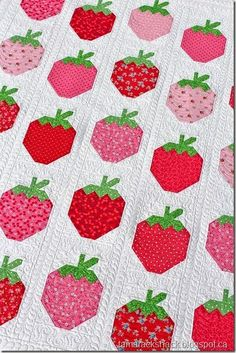 Strawberry Social Quilt | Tamarack Shack Love the fabrics and the quilting.