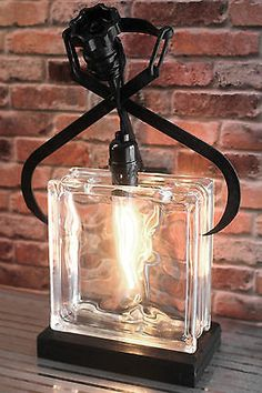 Repurposed Vintage Ice Clamp / Industrial Glass Block Table Lamp & Edison Bulb in Home & Garden, Lamps, Lighting & Ceiling Fans, Lamps | eBay
