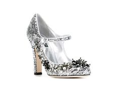 A SPARKLY HEEL  Silver sequins, meet Swarovski crystal flowers. We dare you not to smile. Dolce & Gabbana ($748)   10 Ways to Holiday-ify Your Little Black Dress