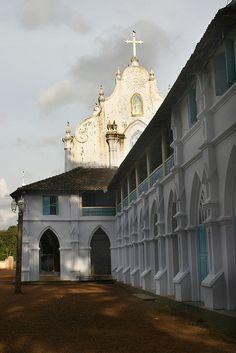 Catholic Church along the Backwaters, Kerala, India  www.TheCatholicMuse.com