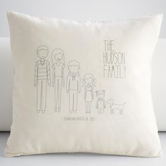 personalized family members square throw pillow cover from RedEnvelope.com