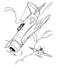 world war 2 airplane colouring pages