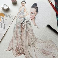 glitter, pearls, sequins, and crystals are just a few words we can use to describe the glorious #ZuhairMurad #Couture gown that actress #Nini wore to the #CannesFilmFestival. Artist @fanqifashion has truly done wonders, perfecting the cream colored work of art, paying tender attention to every detail, from the sensual plunging neckline to the carefully crafted ruffles on the train, capturing each embroidered crystal wondrously.