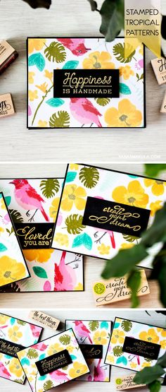 Learn how to stamp patterns using large stamps - create hot tropical pattern for 4 card using Hero Arts Color Layering Stamps & Shadow Inks. For details and video tutorial, visit http://www.yanasmakula.com/?p=51030