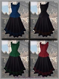 Medival Dress Skirt + Blouse Baroque Larp Reenactment Gothic #InterModen #Dress