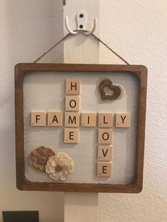 Farmhouse scrabble family sign on Mercari Scrabble Letter Crafts, Scrabble Tile Art, Diy Letters, I Need A Hobby, Diy Shadow Box, Picture Letters, Bottle Cap Crafts, Family Signs, Crafts To Do