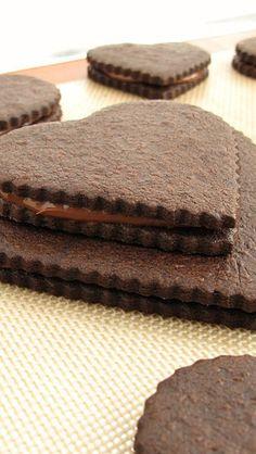Chocolate-Hazelnut Sandwich Cookie Hearts
