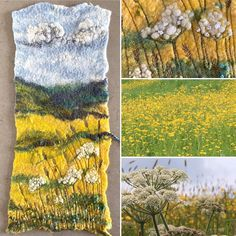 I love a buttercup field and an impending storm, the changing light seems to intensify the yellow fields⚡️💛This was the inspiration behind… Mixed Media Artwork, Mixed Media Artists, Yellow Fields, Felt Pictures, North Yorkshire, Textile Artists, Fabric Art, Embroidery Stitches, Landscape