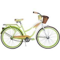 """26"""" Huffy Panama Jack Women's Cruiser Bike, White/Green: Rear rack with decorated wood-like insert 26"""" women's cruiser bike in white/green has a wicker basket and beverage holder Classic fenders; white in front and green in back Graphics under clear top coat for added durability on this Huffy women's cruiser bike Frame: steel cruiser frame with custom paint finish; white in front to green in back 26"""" Huffy Panama Jack Women's Cruiser Bike gearing (# of speeds) : single speed Brakes…"""