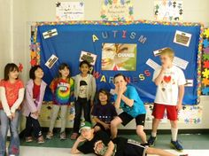 Greenwich Twp AAclub 2012, group shot in front of their Autism Awareness Month Bulletin Board!
