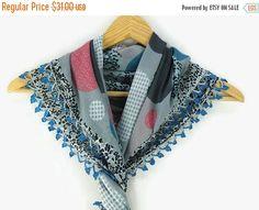 SALE 20% Turkish Oya scarf - Multicolor Geometric - Crochet Flower Edges - Square Headscarf - Turban Headwrap